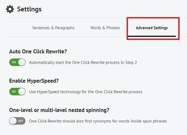 Paramètres Avancés Spin Rewriter